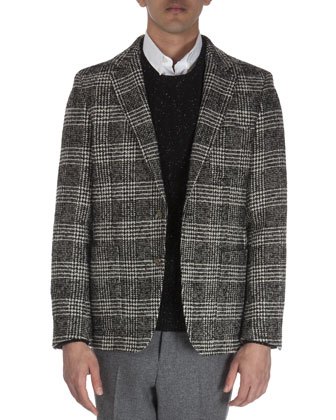 Textured Glen Plaid Jacket, Black/White