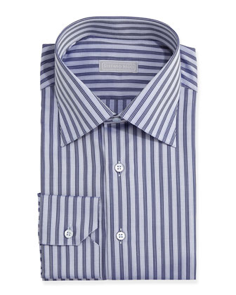 Herringbone Stripe Dress Shirt, Blue