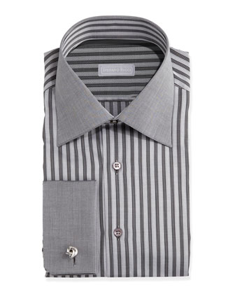 French-Cuff Stripe Dress Shirt, Black