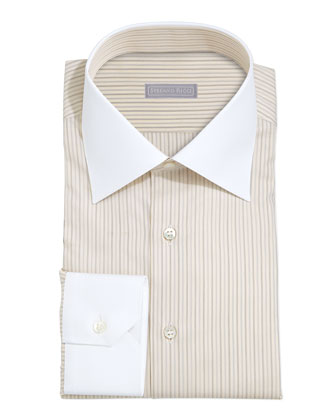 White-Collar Striped Shirt, Yellow