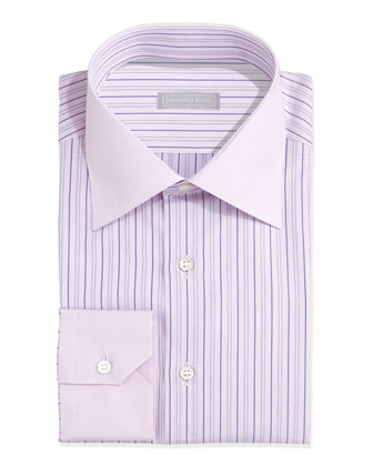 Contrast-Collar Striped Dress Shirt, Pink