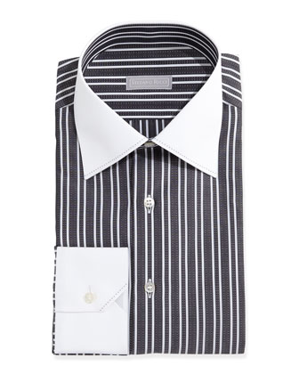 Contrast-Collar Thick-Stripe Dress Shirt, Black
