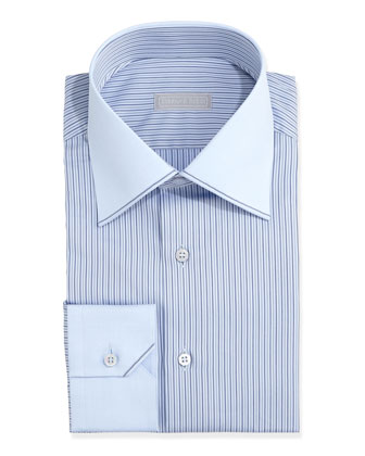 Contrast-Collar Striped Dress Shirt, Blue