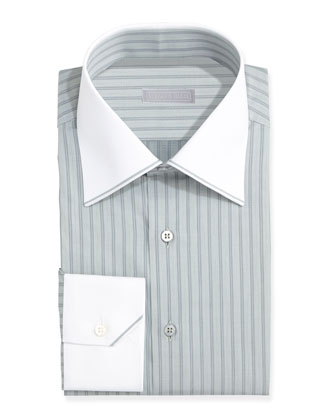 Contrast-Collar Striped Dress Shirt, Green