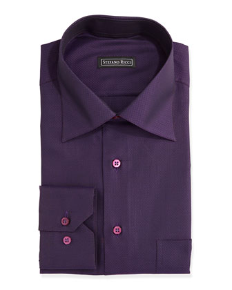 Tonal-Jacquard Dress Shirt, Purple