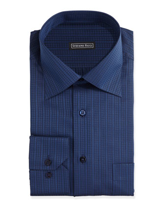 Tonal Striped Dress Shirt, Dark Blue