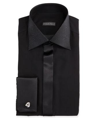Strass-Trimmed Tuxedo Shirt, Black