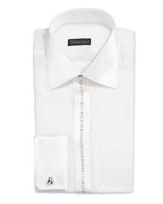 Satin-Trim Tuxedo Shirt, White