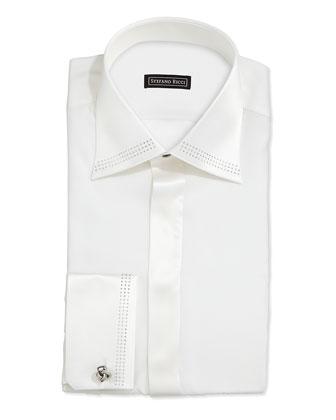 Strass-Trim Tuxedo Shirt, White