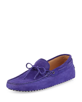 Suede Tie Driving Shoe, Violet