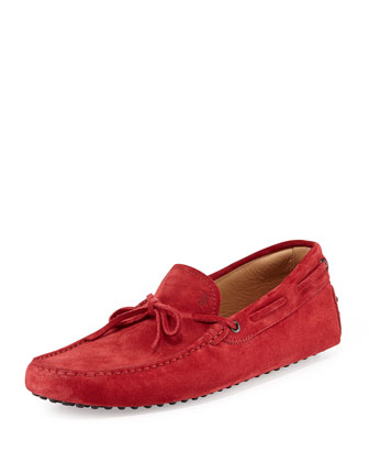 Suede Tie Driving Shoe, Brick
