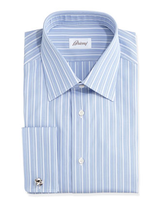 French-Cuff Alternating-Stripe Dress Shirt, Blue