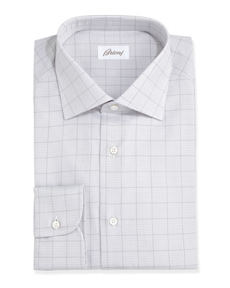 Glen Plaid Dress Shirt, Gray