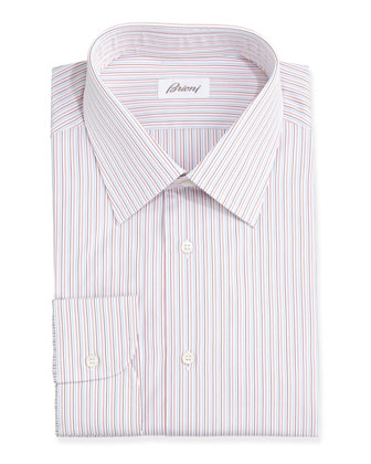 Multi-Stripe Dress Shirt, Red