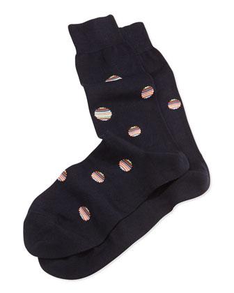 Stripe-Polka-Dot Socks, Navy Blue