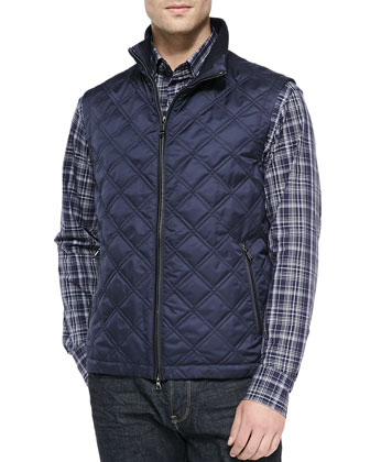 Diamond Quilted Vest, Navy