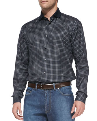 Mini-Check Woven Shirt with Knit Collar, Blue
