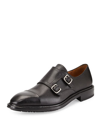 Pebbled Double-Monk Loafer, Black