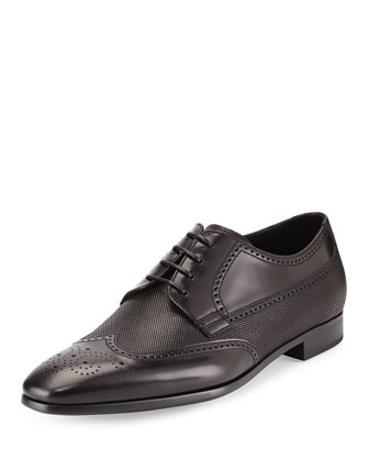 Spazzolato Wing-Tip Lace-Up, Black