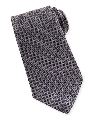 Silk Tossed Ovals-Pattern Tie, Black