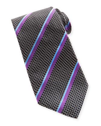 Textured Stripe Silk Tie, Black