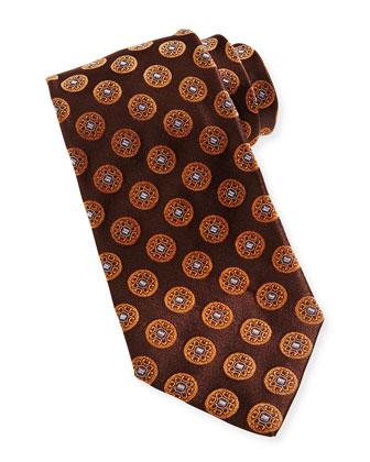 Circle-Medallion Silk Tie, Brown