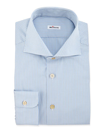 Check Dress Shirt, Pale Blue/Gray