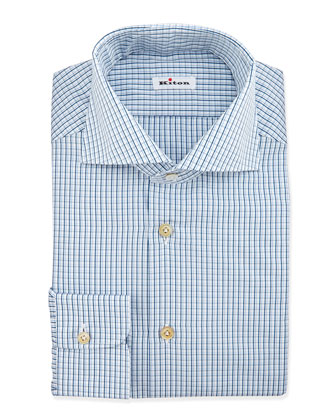 Shadow-Check Dress Shirt, White/Teal/Green