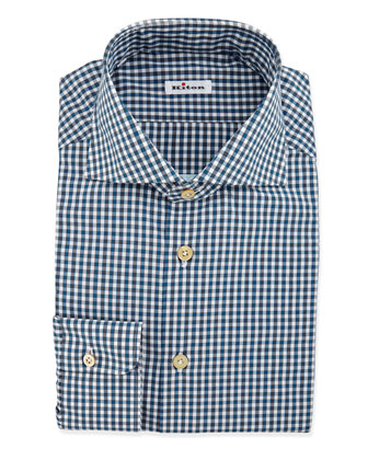 Check Woven Dress Shirt, Teal