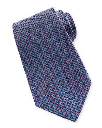 Tossed Ovals-Pattern Tie, Navy