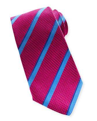 Textured Stripe Silk Tie, Fuchsia