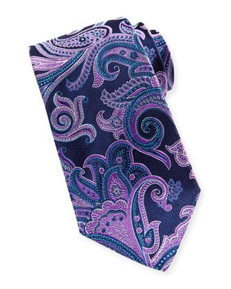 Paisley-on-Chevron Silk Tie, Navy-Fuchsia