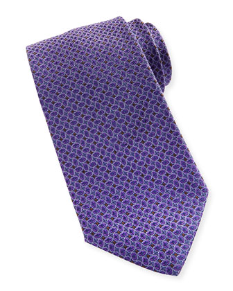 Silk Tossed Ovals-Pattern Tie, Purple
