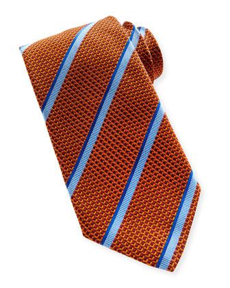 Textured Stripe Silk Tie, Orange