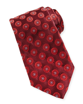 Circle-Medallion Silk Tie, Burgundy