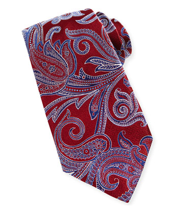 Paisley-on-Chevron Silk Tie,Burgundy
