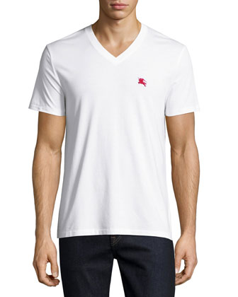 Cotton V-Neck Tee, White