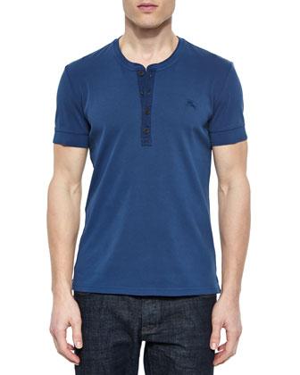 Short-Sleeve Henley Tee, Steel Blue