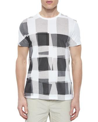 Short-Sleeve Check Graphic Tee, Gray/White