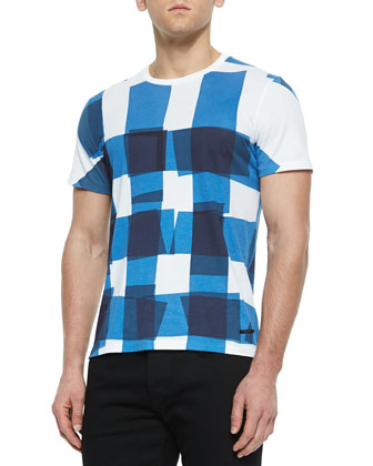Short-Sleeve Check Graphic T-Shirt