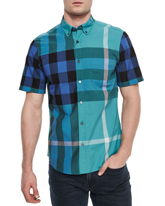 Exploded Check Short-Sleeve Shirt, Teal/Multi