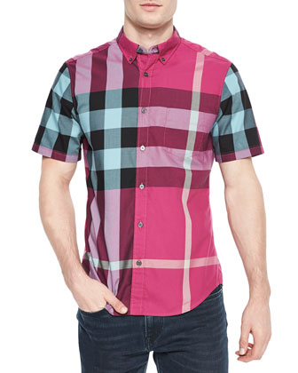 Exploded Check Short-Sleeve Shirt, Pink/Multi