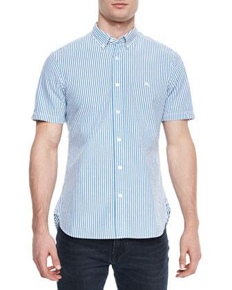 Short-Sleeve Seersucker Shirt, Blue