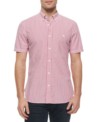 Short-Sleeve Seersucker Shirt, Pink