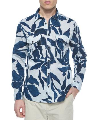 Leaf Print Long-Sleeve Shirt, Blue/Gray
