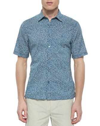 Short-Sleeve Mini-Floral Print Shirt, Blue