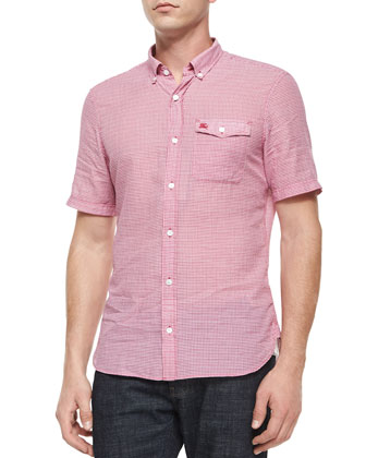 Micro-Gingham Short-Sleeve Shirt, Red