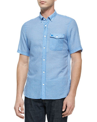 Micro-Gingham Short-Sleeve Shirt, Blue