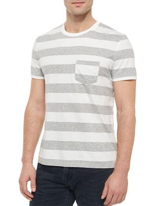 Striped Short-Sleeve Crewneck Shirt, Gray Melange/White