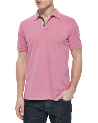 Short-Sleeve Pique Polo Shirt, Pink